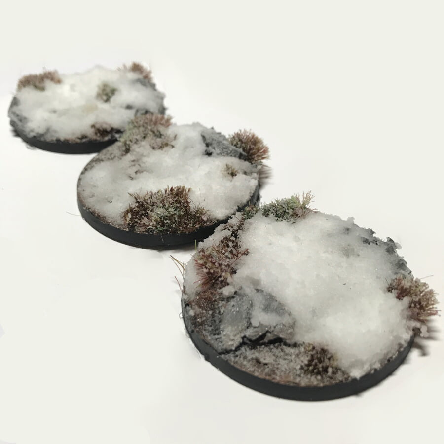 50mm Pre-Painted Bases – Snow Theme