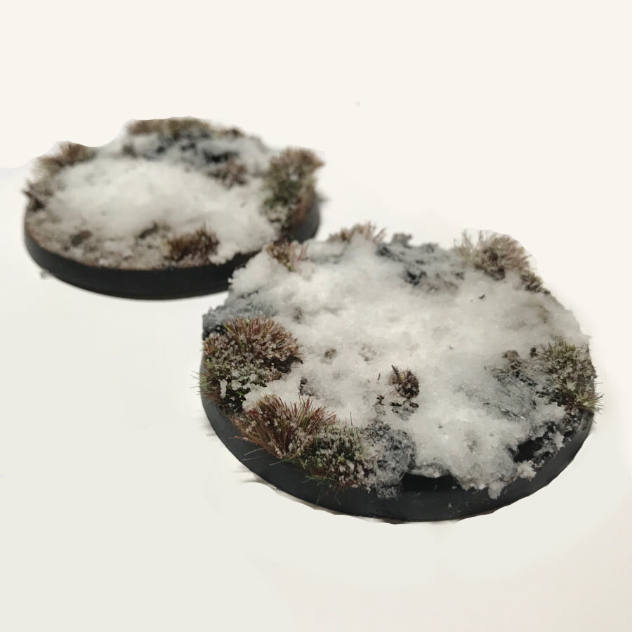 60mm Pre-Painted Bases – Snow Theme